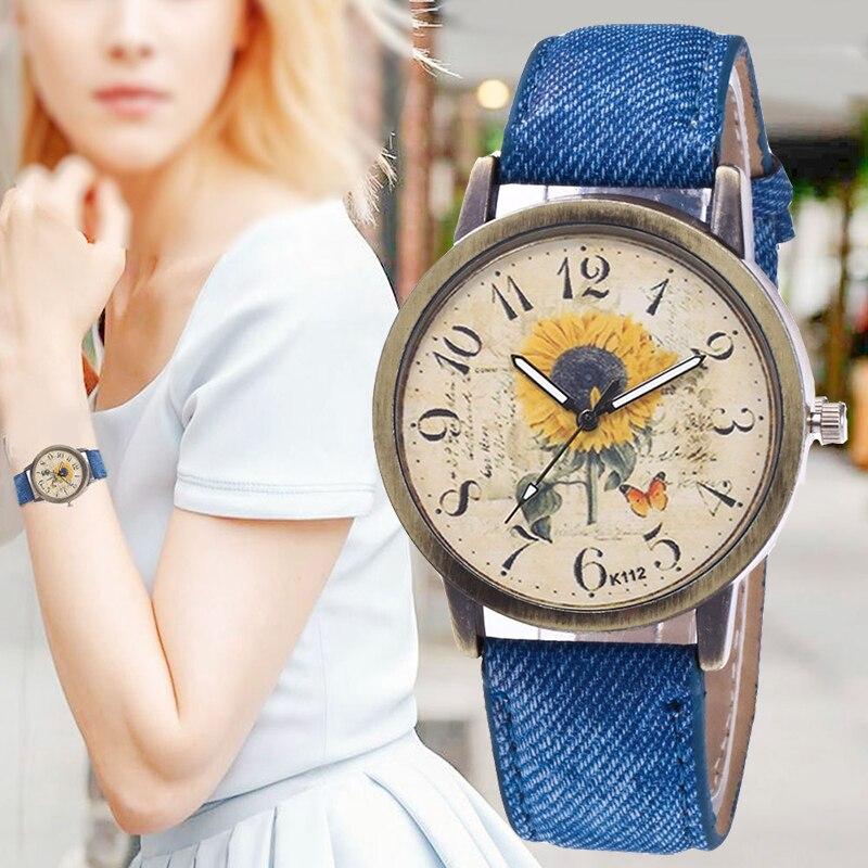 Women Watches Fashion Quartz Watch Global World Sunflower Imitation Denim Fabric Casual Ladies Watch Wristwatches Gift