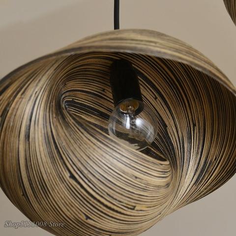 tecelagem de bambu seashell pingente lampada sala