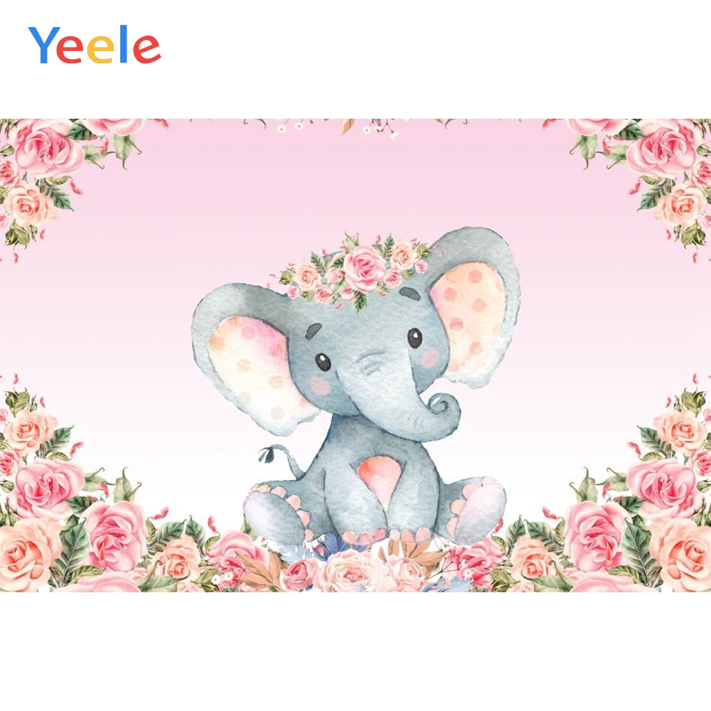 Baby Shower Pink Flower Elephant Backdrop Newborn Kids Baptism Children Birthday Party Photography Background For Photo Studio in Background from Consumer Electronics