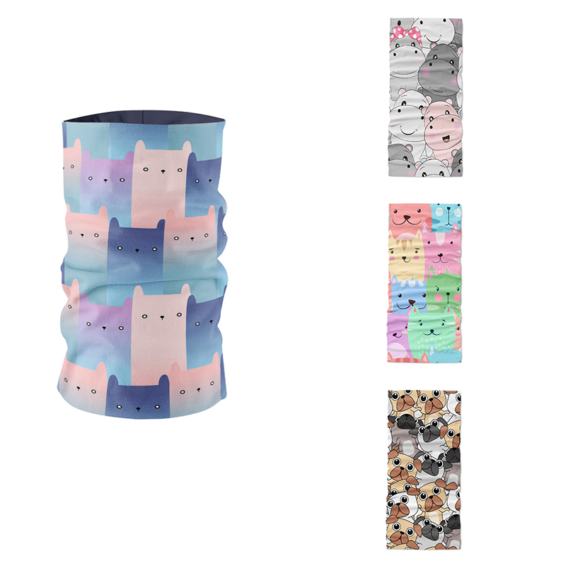 Mini Layered Pattern 3D Printed Tubular Headscarf Mask Women Ring Scarf Cute Animals Cats Dogs Pink Hand Towel Dustproof Bandana