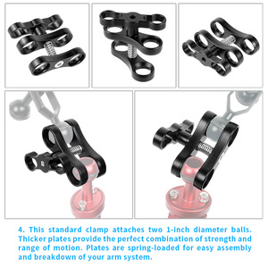 Image 4 - Aluminum Alloy 2 Hole Diving Lights Ball Butterfly Clip Arm Clamp Mount for GoPro Hero 7 6 5 4/ Xiaoyi/ Sjcam Sports Action Cam
