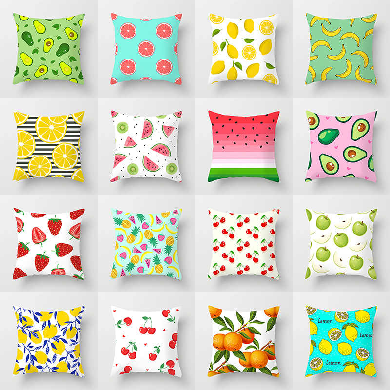 2021 new hipster fresh summer fruits print cushion covers pink green yellow pillow covers modern nordic decorative throw pillows