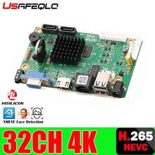 32CH 4K פנים CCTV NVR לוח Hi3536 2 SATA יציאות ONVIF אבטחת וידאו מקליט לוח 32CH /4K/5MP/1080P וידאו קלט 1CH אודיו I/O