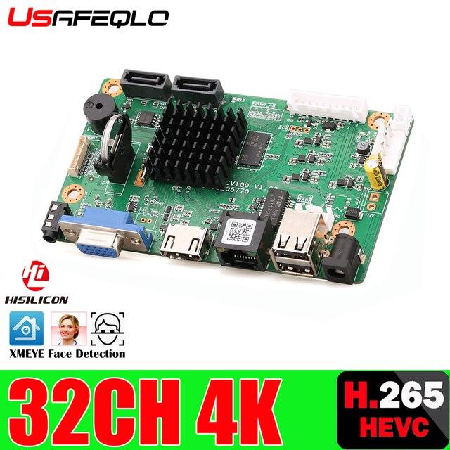32CH 4K Gesicht CCTV NVR Bord Hi3536 2 SATA Ports ONVIF Sicherheit Video Recorder Bord 32CH /4K/5MP/1080P Video Eingang 1CH Audio I/O