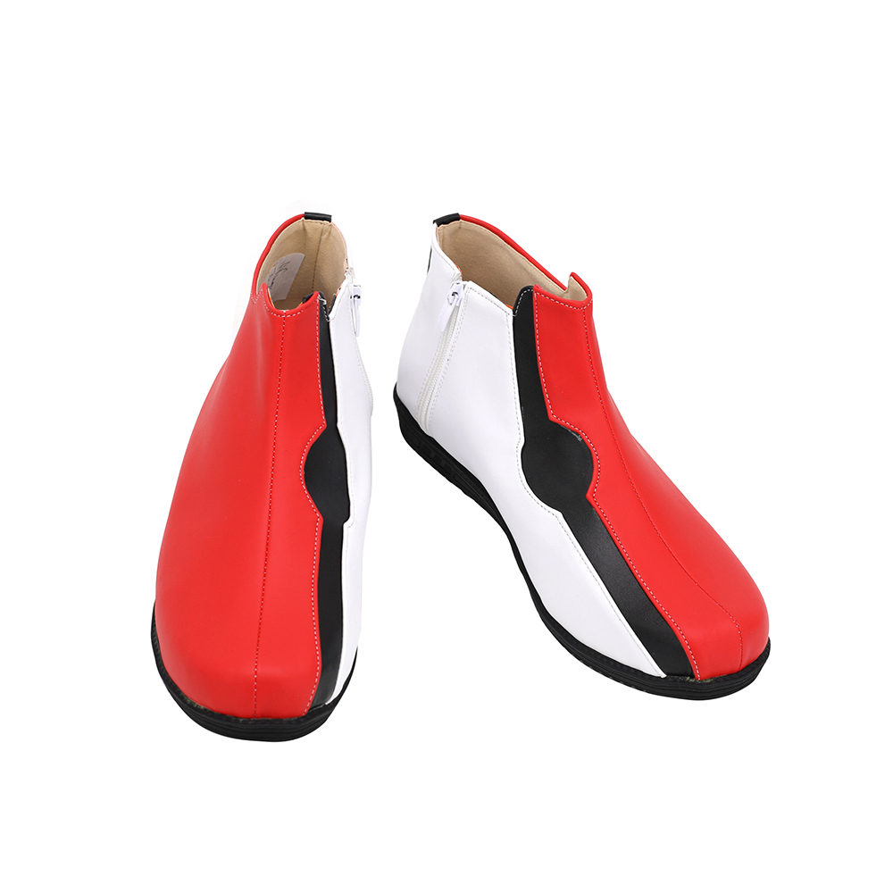 Pokemon SwordShield Kabu Cosplay Boots Red Leather Shoes Custom Made Any Size (2)