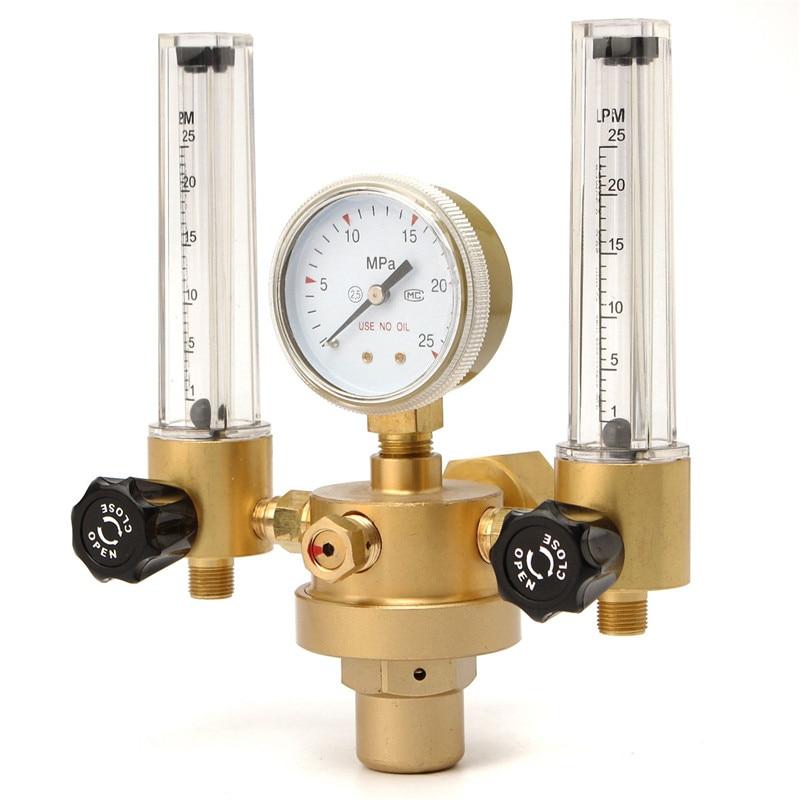 Argon CO2 Gauge Pressure Regulator Flow Meter Control Valve Welding Gas Double Tube Bubble Counter Aquarium Flowmeter