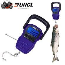 Runcl 50kg portátil display lcd balança de pesca balança eletrônico digital handheld pesando pendurado gancho escala com 1.5m fita