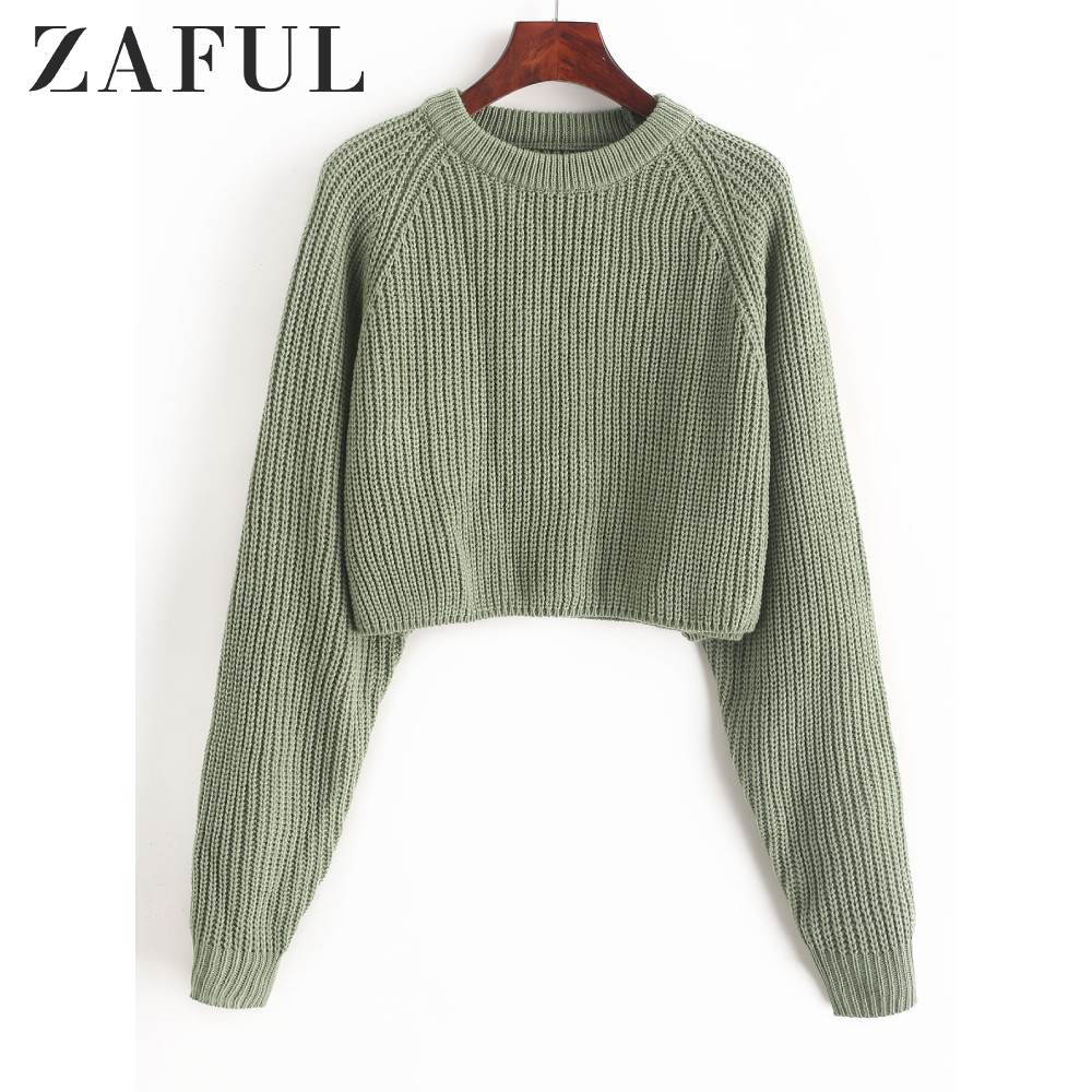ZAFUL Raglan Sleeve Crop Plain Sweater Short Tops Crew Neck Full Sleeves Loose Solid Pullovers Daily Autumn For Girls Women 2019