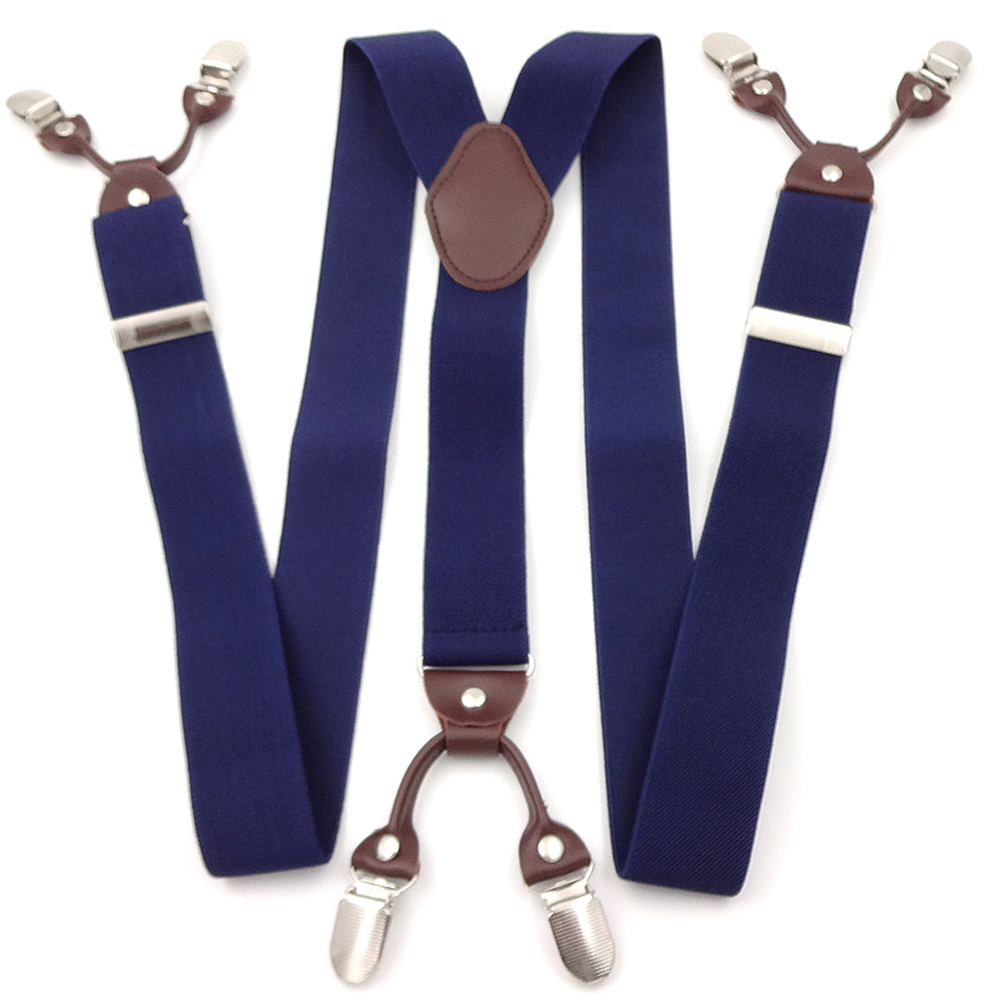6 Clips Leather Elastic Woven Tape Alloy Male Vintage Casual Suspenders Commercial Western-style Trousers Man's Braces Strap #2