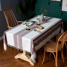 Large Linen Tablecloth kitchen Tassel Embroidery Multi Color Decorative OilProof Thick Rectangular Table Cover Tea Table Cloth