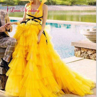 New Fashion 2020 Sexy v neck Yellow Evening Dress Custom made Tiered Tulle Skirt Ball Gown Elegant Evening Party Dresses