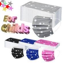 Masques buccaux jetables pour enfants, lot de 10, 20, 30, 50, 100, 110 pièces, imprimé étoiles, 3 plis, boucles auriculaires
