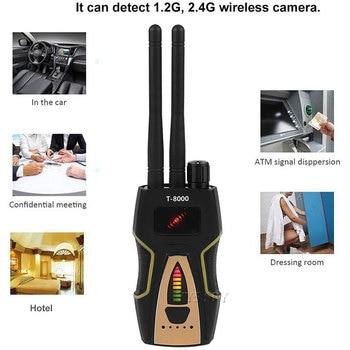 T8000 Radio RF Signal Detector Portable Anti Spy Hidden Camera Detector GSM Audio Bug Finder GPS Scanner Large Detection Range 3