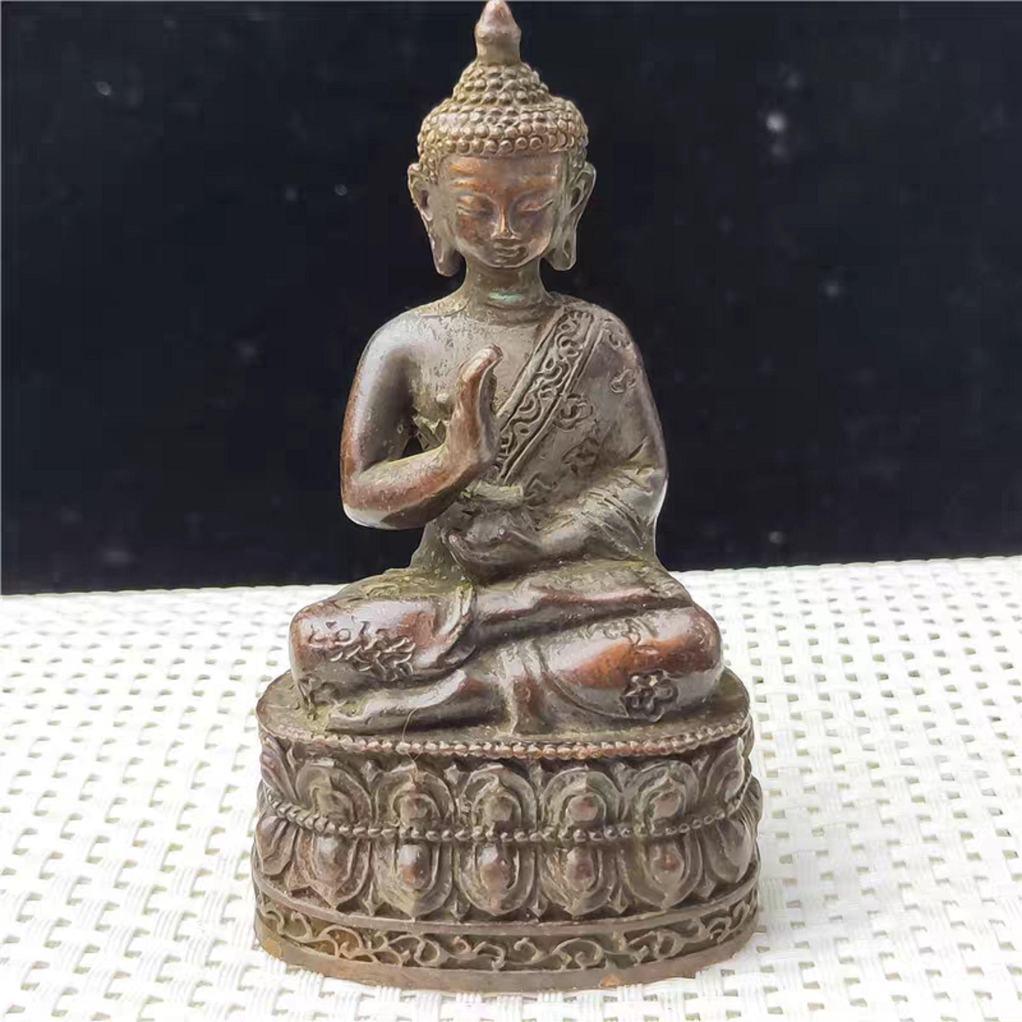 Antique Pure brass statue copper carving ORNAMENT Religious Buddha Yoga Sakyamuni, Buddha, monk, meditation, meditation, meditat