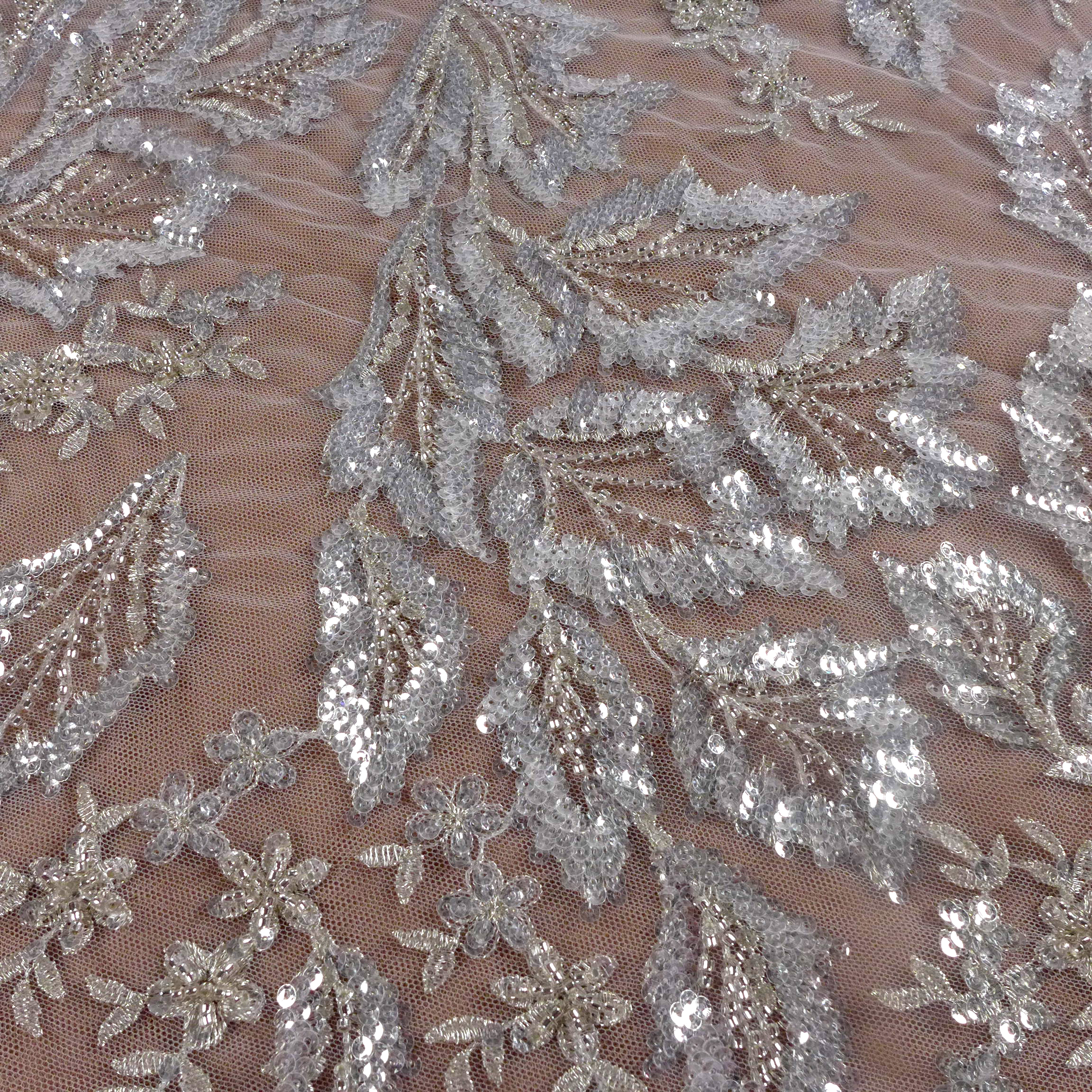 La Belleza new beaded sequins wedding dress lace fabric off white beads sequins lace fabric leaves pattern lace 1 yard title=