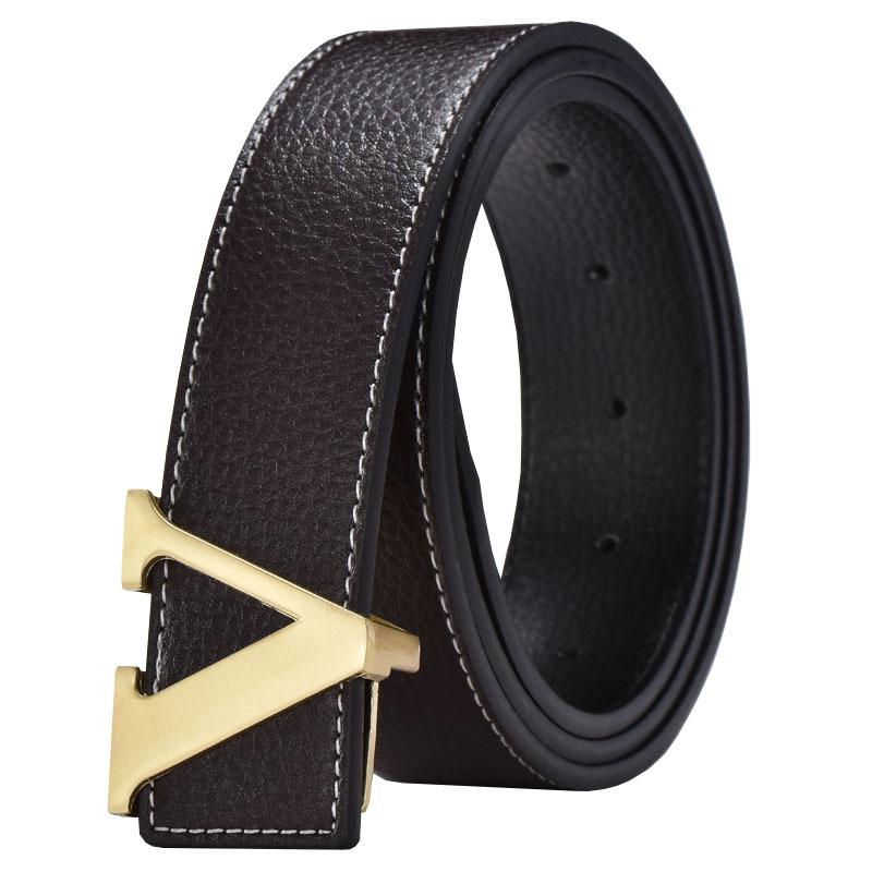 V Designer Luxury Brand Belts For Mens Genuine Leather Male Women Casual Jeans Vintage Fashion High Quality Strap Waist