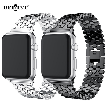 luxury stainless steel watch strap for apple watch band 42mm 38mm link bracelet band for iwatch 4 bands 44mm 40mm series 3 2 1 metal link bracelet for apple watch 6 band 40mm 44mm iwatch band 38mm 42mm stainless steel strap band for apple watch 6 SE 5 4 3
