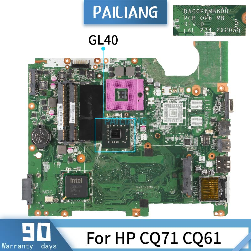 DA00P6MB6D0 For HP CQ71 CQ61 GL40 Mainboard  Laptop Motherboard Tested OK