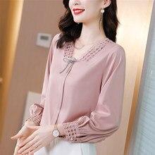 Summer Korean Chiffon Women Blouses Women Hollow Out Lace Blouse Shirts Woman Embroidery Blouses Tops Woman V Neck Shirt Top