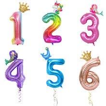 2 pçs 32/40 Polegada número da folha balões 0-9 balão digital adulto crianças festa de aniversário decoração balões suprimentos coroa sereia globos