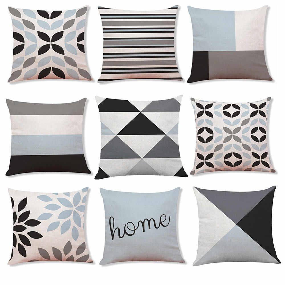 Geometric Modern Silver Grey Cushion Cover Pillowcase Throw Home Sofa Decor