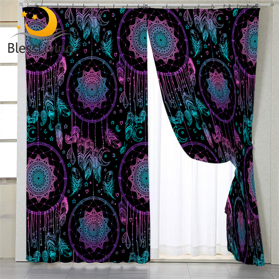 blessliving dreamcatcher blackout curtain for living room boho bedroom curtain blue purple ethnic window treatment drapes 1pc