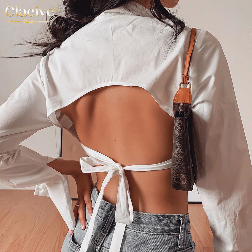 Clacive Fashion White Turn Down Collar Women'S Shirt Casual Long Sleeve Lace-Up Ladies Blouses Elegant Backless Female Shirts 7