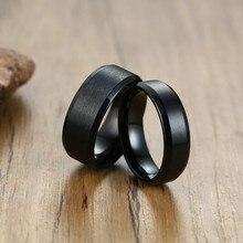 Klassische Matt Schwarz Edelstahl Ring Für Männer Frauen 6mm 8mm Breite Versprechen Ring