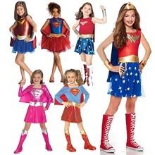 Adalet şafak çocuk merak kadın kostüm Supergirl Batgirl Robin küçük kız süper kahraman süslü elbise cadılar bayramı karnaval parti