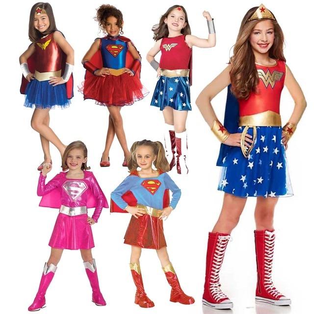 Dawn Of Justice Child Wonder Women Costume Supergirl Batgirl Robin Little Girls Superhero Fancy Dress Halloween Carnival Party