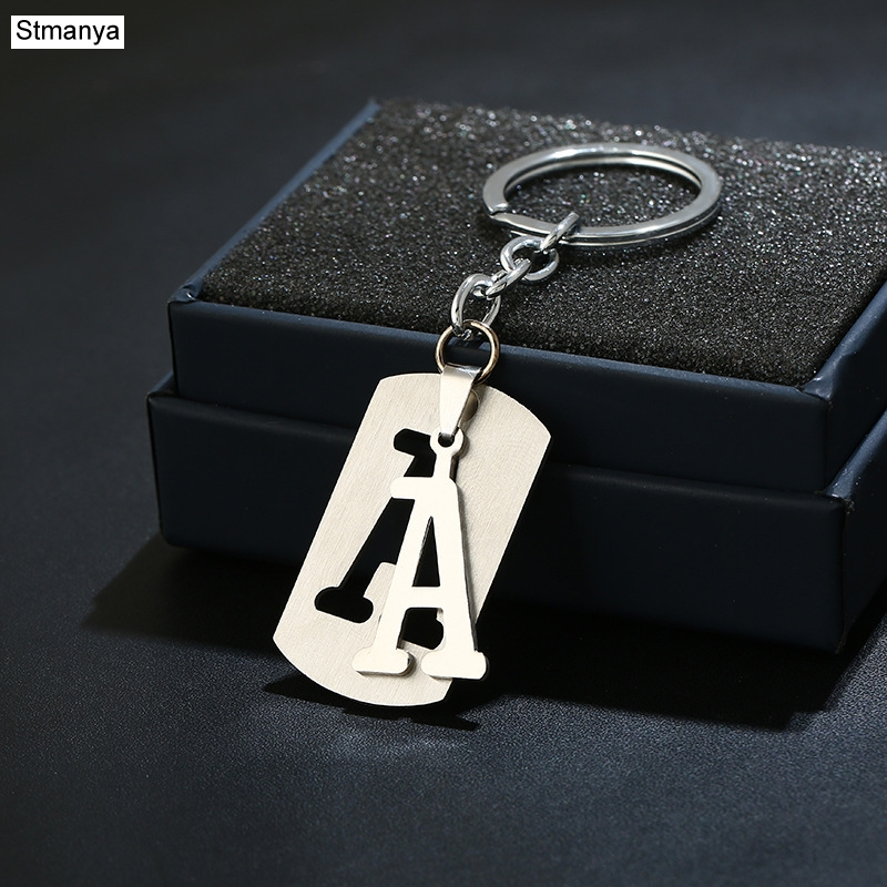 NEW DIY Stainless Steel A-Z Letters Key Chain Charm 26 Letters  KeyChain Men Women Keychain Couple Gift Jewelry Car Key Ring