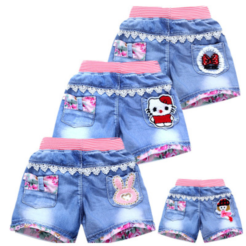 Girls Denim Shorts Summer Fashion Cute Shorts Floral Lace Wild Children's Pants Girls Denim Shorts Teen