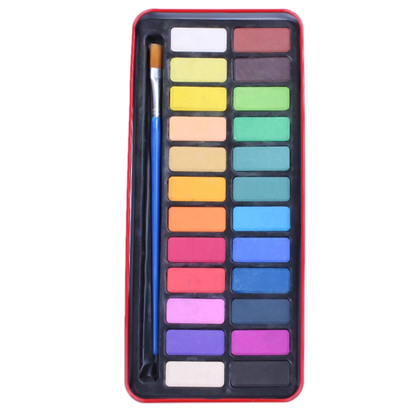24 Colors Solid Watercolor Paint Pigments Tablet Set With Paintbrush & Metal Box