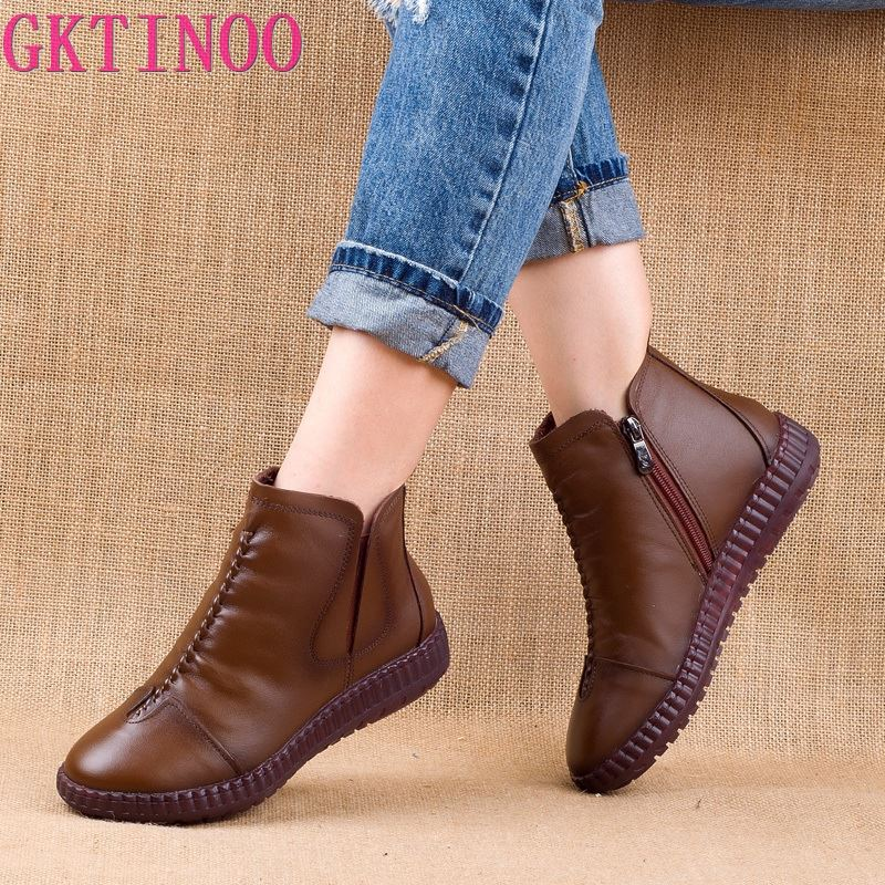 GKTINOO 2020 Winter Genuine Leather Ankle Boots Handmade Lady Soft Flat Shoes Comfortable Casual Moccasins Side Zip Ankle Boots