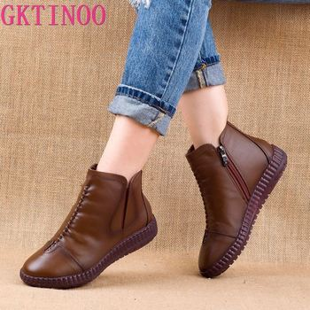 GKTINOO 2020 Winter Genuine Leather Ankle Boots Handmade Lady Soft Flat Shoes Comfortable Casual Moccasins Side Zip Ankle Boots men winter boots 100% genuine cow leather brogue shoes casual ankle shoes comfortable quality soft handmade flat shoes black red