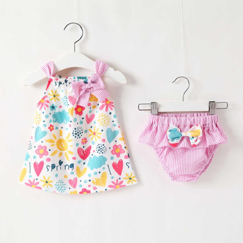 Summer Newborn Infant Girl Sleeveless Dress+Briefs 4 Piece Set