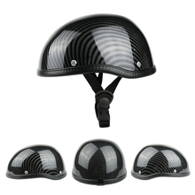 Retro Style Motorcycle Half Helmet ABS+Cotton Plastic Cap for Motorcyclist Biker Ridder Carbon striation Universal Washable