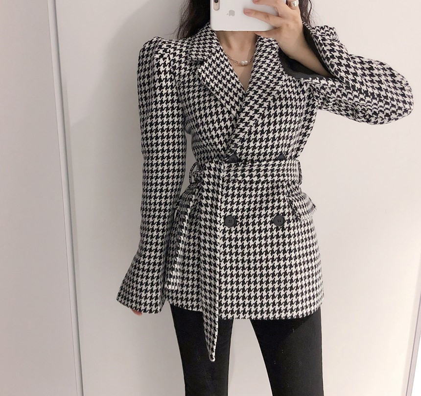 HziriP OL Women Tops Vintage Houndstooth Double Breasted Blazer Woolen Coat Fashion Puff Sleeve Elegant Outerwear Plaid Jacket
