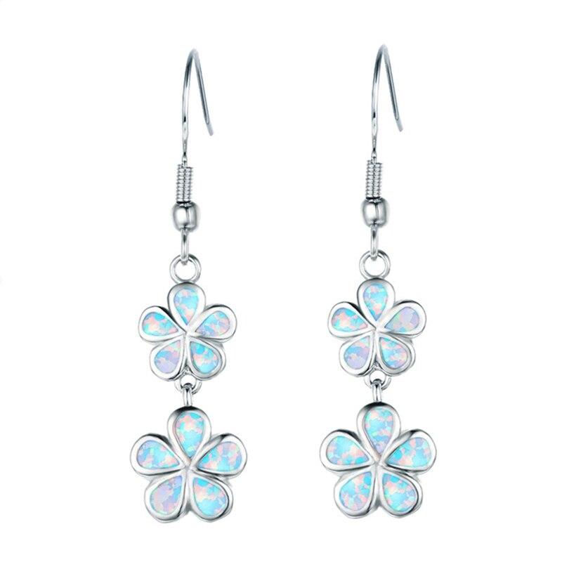 FDLK New Fashion Flower Long Dangle Earrings Blue Fake Fire Opal Drop Earrings for Women's Party Jewelry Accessories