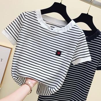 gkfnmt Poleras Mujer Tshirt Femme 2020 Stripe Female T Shirt Women Cotton Slim T-Shirt Woman Summer Camiseta Feminina Casual - discount item  36% OFF Tops & Tees