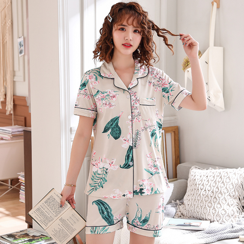 2019 Summer New Style Pajamas WOMEN'S Cardigan Fold-down Collar Short Sleeve Shorts Leisure Suit Students Sweet Cute Home Wear