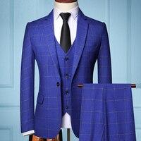(Jacket + vest + pants)  men's fashion boutique lattice groom wedding dress suit three-piece men's formal business casual suits