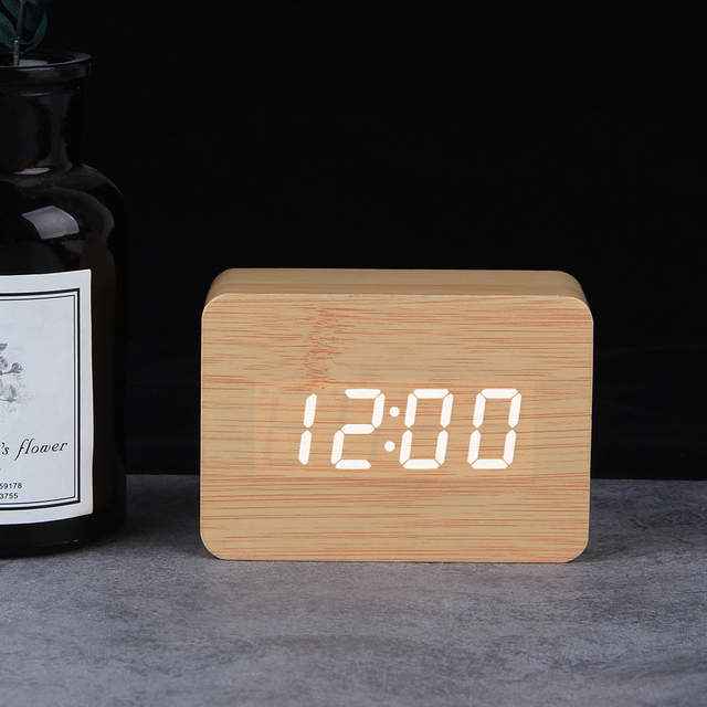 LED Wooden Clock Digital Alarm Clocks Desktop Table Clocks Electronic Voice Control Temperature Display Despertador Home Decor 3