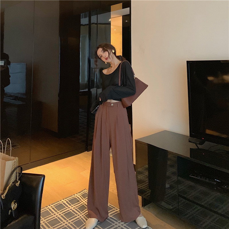 Wide Legged Trousers High Waist 2019 Women Autumn And Winter Slim Casual Skinny Female Wide Legged Pants