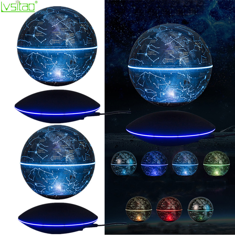 6inch Magnetic Levitation Floating Globe Colorful Starry Sky Ball Light Power-off Protection Smart Adsorption 360 Auto Rotating