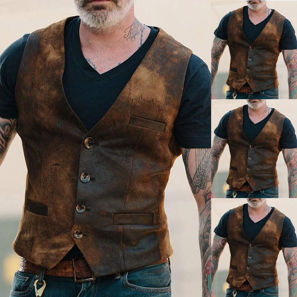 Men's Casual Vest Male Clothing Explosion Models European And American Handsome Fashion Retro Men's Single-breasted Vest#G2