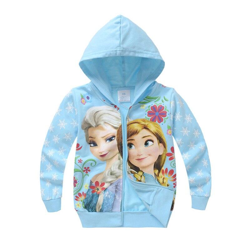 Girls Hoodies Cartoon Elsa Anna Spring Casual Hoodies For Girls Full Sleeve Kids Coats Girls Sweatshirt Children Clothing