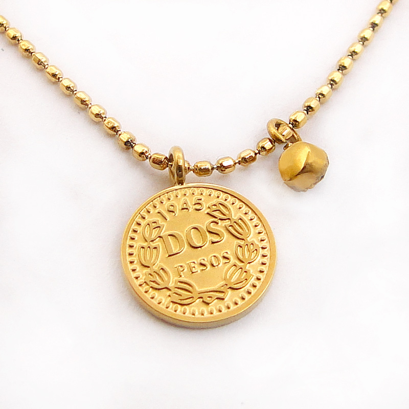 Stainless Steel Coin Pendant Necklace Gold Money Necklace Coin Statement Jewelry Women Small Choker Bead Chain Elizabeth Charm