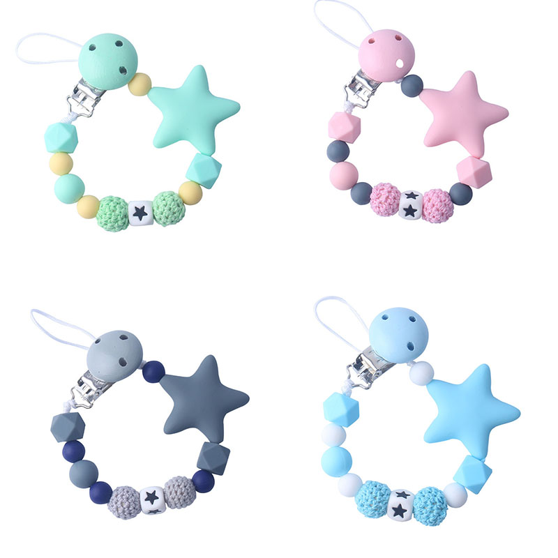 Silicone Pacifier Clip Safety Eco-friendly Newborn Baby Teething Toys Baby Pacifier Chain Food Grade Silicone Star Feeding Chain