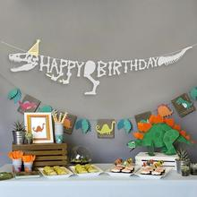 Glitter Silver Dinosaur Theme Happy Birthday Banner Dino Party Jurassic Park Prehistoric Skeleton